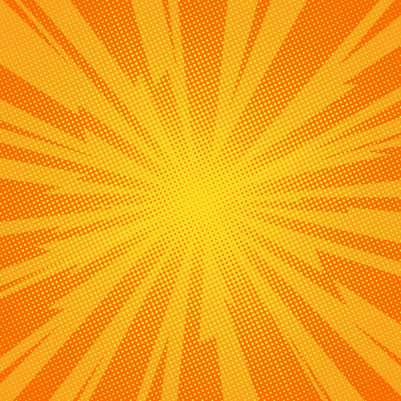 Comic book background lightning blast halftone dots. Pop art vector Illustration on orange Vector Illustration