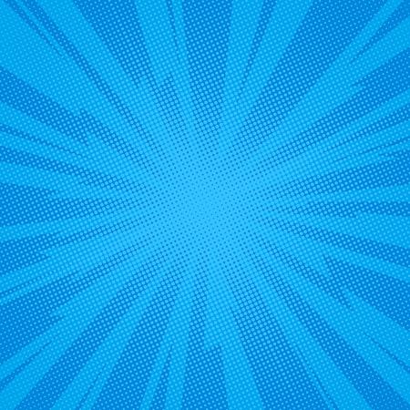 Comic book background lightning blast halftone dots. Pop art vector Illustration on blue Illustration