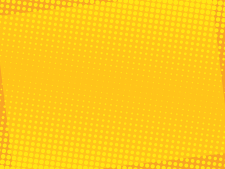 Comic yellow background. Halftone dot pop art retro style