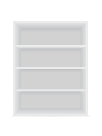 Blank vertical shelves on a white background. Vector mockup.