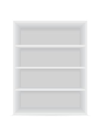 Blank vertical shelves on a white background. Vector mockup.