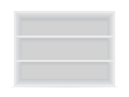 Blank horizontal shelves on a white background. Vector mockup.
