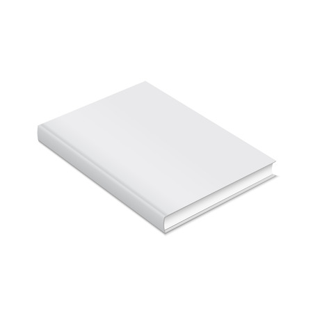 Blank book with white cover. Mock up magazine or brochure on a white background.. Vector illustration