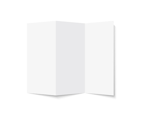 Brochure mock up. Realistic rendering blank tri-fold paper brochure. Isolated vector illustration on white background