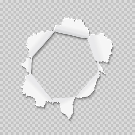 Hole in the paper with torn sides. Torn paper with ripped edges background. Vector illustration.