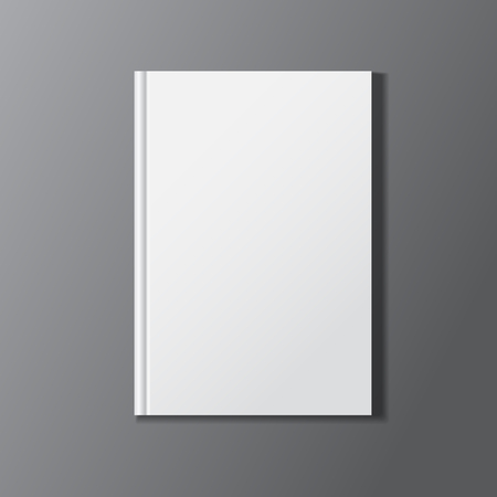 Blank white book cover on black background. Vector illustration