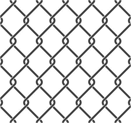 Seamless chain link fence. Steel wire mesh on white background. Vector illustration.