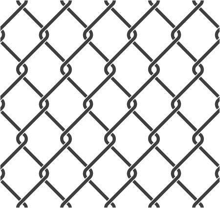 Valla de tela metálica sin costuras. Malla de alambre de acero sobre fondo blanco. Ilustración vectorial.