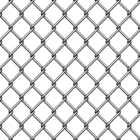 Recinzione a catena. Rete metallica in acciaio su sfondo bianco. Illustrazione vettoriale. Vettoriali