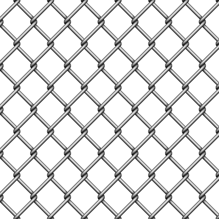 Chain link fence. Steel wire mesh on white background. Vector illustration.