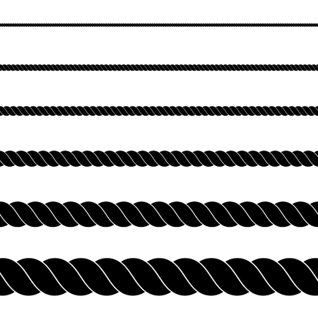 Silhouette of black rope on white background. Seamless rope. Vector illustration