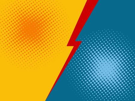 Cómic versus fondo. Estilo de arte pop de ilustración vectorial