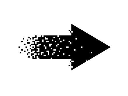 Black pixel arrow on white background. Isolated Vector Illustration.