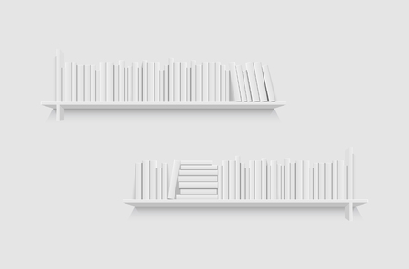 Mockup of bookshelf with blank books. Realistic vector illustration