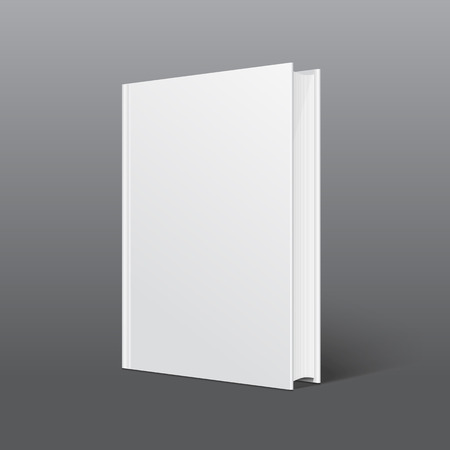 Realistic white book with a blank cover. Mock up of rotated book. Isolated vector illustration.
