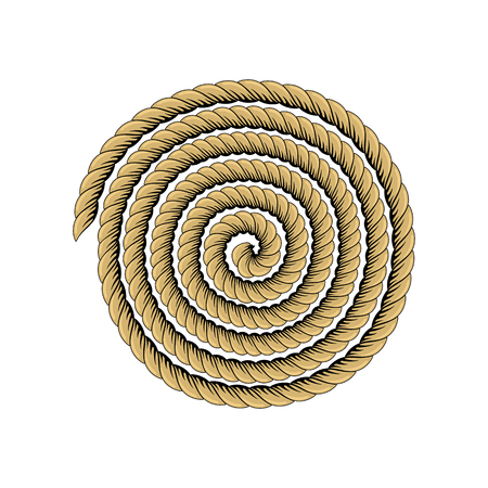 Roll of rope. Rope twisted circle. Isolated vector illustration on white background.