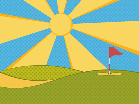 Golf background. Abstract golf course, hole, flag and sun. Vector illustration. Ilustrace