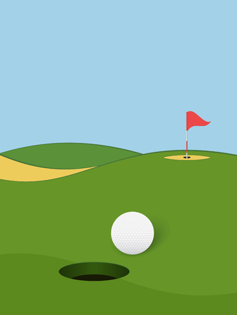 Golf background. Golf course with hole, ball and flag. Vector illustration.