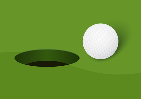 Golf ball and golf hole on green background. Vector illustration. Ilustrace
