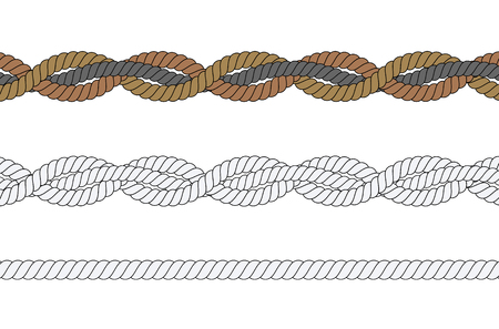 Set of different ropes on white background. Isolated vector illustration.