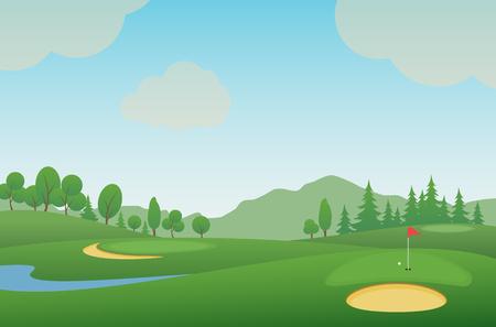 Golfbaan. Vector illustratie. Vector Illustratie