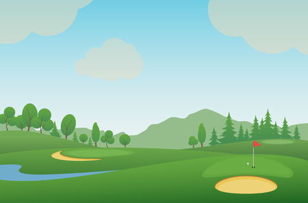 Golf course. Vector illustration.