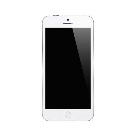 White smartphone on white background. Mock up phone with blank screen. Isolated vector illustration. Ilustração