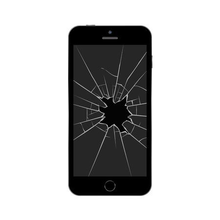Smartphone met gebroken scherm. Gebroken mobiele telefoon. Geïsoleerde vectorillustratie op witte achtergrond.