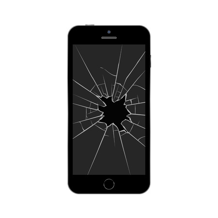 Smartphone with broken screen. Broken mobile phone. Isolated vector illustration on white background.