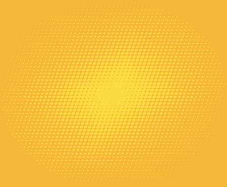Comic yellow background. Halftone dot pop art retro style