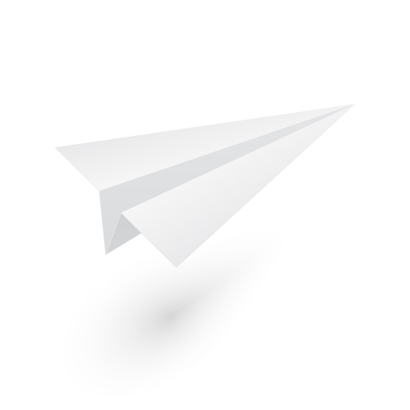 Mockup paper origami airplane. Isolated vector illustration on white background.