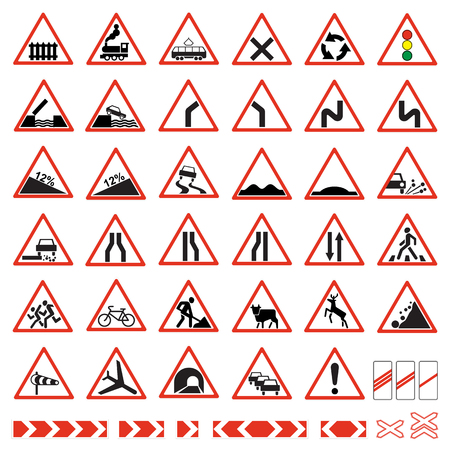 Road  signs set. Warning traffic signs collection. Vettoriali