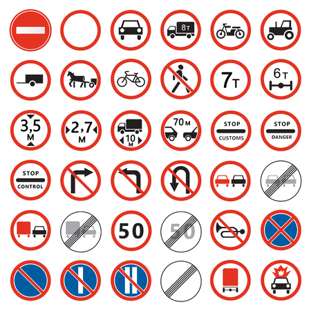 Road  signs set. Prohibiting traffic signs collection.