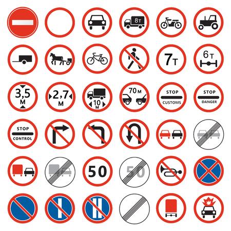 Verkehrszeichen gesetzt. Verbot der Sammlung von Verkehrszeichen.
