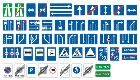 Road highway signs. Obligatory and  informatory traffic signs.