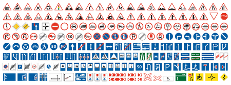 Advertencia de carretera, prioridad, recogida de señales de prohibición. Conjunto de más de doscientas señales de tráfico. Ilustración de vector