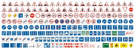 Zbieranie znaków ostrzegawczych, pierwszeństwa, zakazu. Zestaw ponad dwustu znaków drogowych. Ilustracje wektorowe