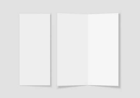 Mockup of the booklet or brochure with open blank pages. A4 half folded. Isolated vector illustration on white background. Ilustrace