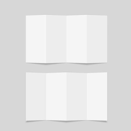 Four fold brochure mockup. Blank white brochure mock up. Isolated vector illustration on white background. Ilustração Vetorial
