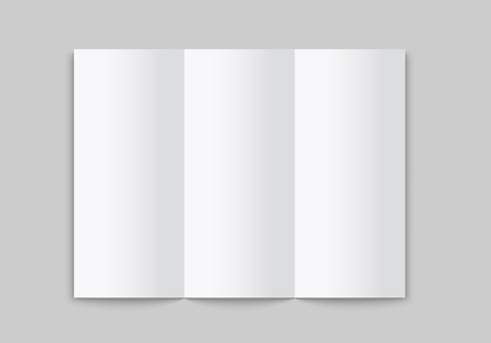 Blank white tri folded brochure mockup. Open booklet isolated. Vector template on white background. Ilustração