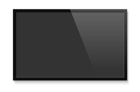 Realistisch tv-scherm. Leeg televisie lcd-paneel mock up. Geïsoleerde vectorillustratie op witte achtergrond. Vector Illustratie