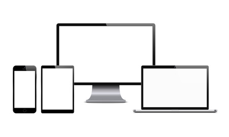 Smartphone, computer monitor, laptop and tablet. Set of digital tech devices with blank screens. Vector illustration on white background.