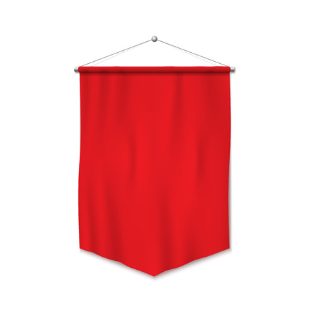 Red pennant template. Realistic empty blank pennant. Isolated vector illustration on white background.