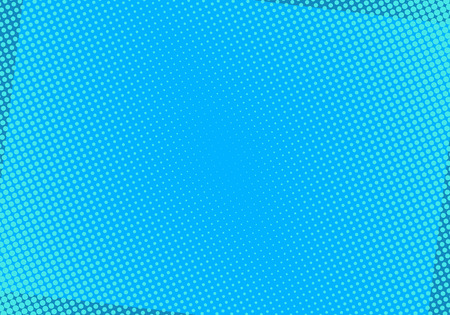Blauwe komische achtergrond met halftoonpunten. Popart vectorillustratie.