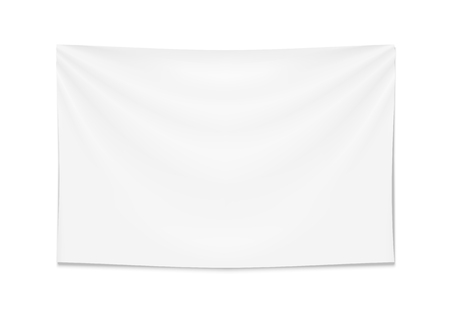 Empty mockup white textile banner with folds. Isolated vector illustration on white background.