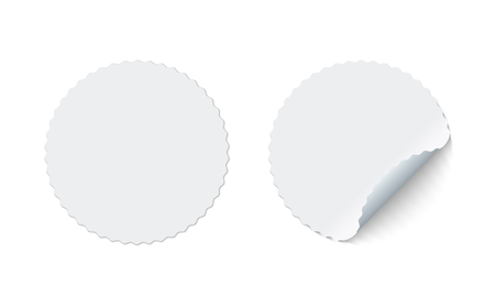 Blank round adhesive stickers mock up with curved corner. Mockup empty circle sticky label. Vector illustration.