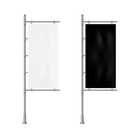Banner flag mockup. White and black blank advertising flag.