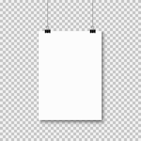 Empty A4 sized paper frame mockup hanging with paper clip
