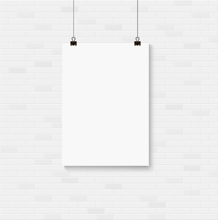 White blank poster mockup on the seamless brick wall