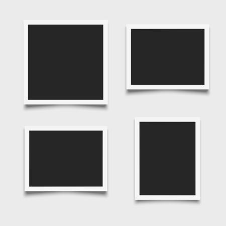 Set of empty photo frames on white background Векторная Иллюстрация
